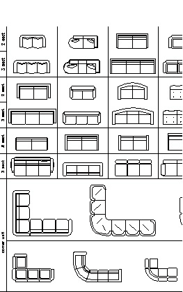 Furniture Cad Blocks Sofas In Plan View
